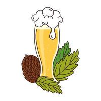 glass of beer with seed hop on white background vector