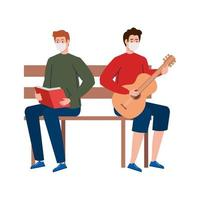 men wearing medical mask reading book and playing guitar, sitting in park chair vector