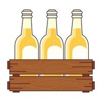 beers set in the wooden box, on white background vector