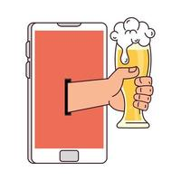 distant communication, hand holding glass of beer through smartphone screen vector