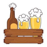 bottle with cup and glass of beer in wooden box, on white background vector