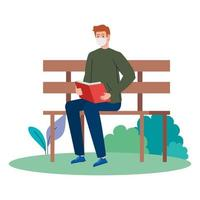 man wearing medical mask reading book, sitting in park chair on white background vector