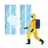 person in protective suit or clothing, spray to cleaning and disinfect virus in window, covid 19 disease on white background vector