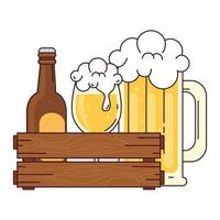 bottle with cup and mug glass of beer in wooden box, on white background vector