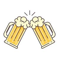 mugs of beer with froth, cheers, on white background vector