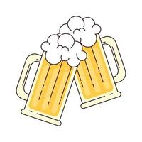 Jarras de cerveza con espuma, saludos, sobre fondo blanco. vector