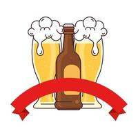 bottle with glasses of beer, with ribbon decoration on white background vector