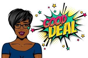 Black african-american young girl pop art vector