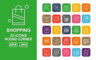 25 Premium Shopping Round Corner Icon Pack vector