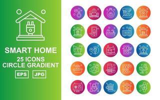 25 Premium Smart Home Circle Gradient Icon Pack vector