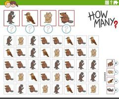 how many cartoon animal characters counting game vector