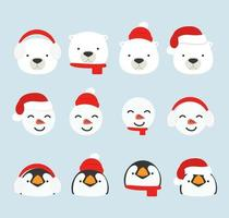 cute cartoon arctic heads christmas set vector