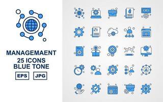 25 Premium Management Blue Tone Icon Pack vector