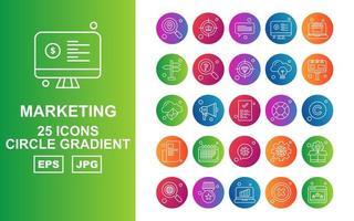 25 Premium Marketing Circle Gradient Icon Pack vector