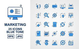 25 Premium Marketing Blue Tone Icon Pack vector
