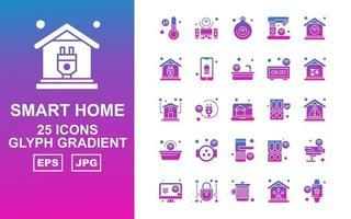 25 Premium Smart Home Glyph Gradient Icon Pack vector