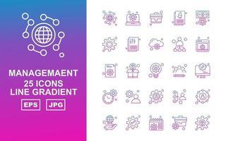 25 Premium Management Line Gradient Icon Pack vector
