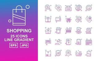 25 Premium Shopping Line Gradient Icon Pack vector