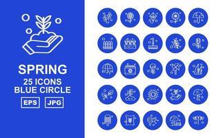 25 Premium Spring Blue Circle Icon Pack vector