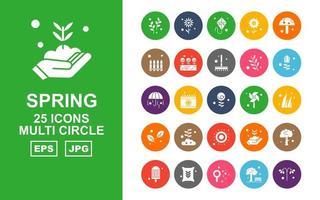 25 paquete premium de iconos de múltiples círculos de primavera vector