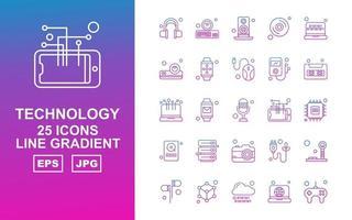 25 Premium Technology Line Gradient Icon Pack vector