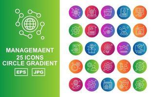 25 Premium Management Circle Gradient Icon Pack vector