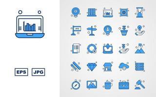 Paquete de 25 iconos de tono azul empresarial premium vector