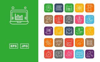 25 Premium Business Round Corner Icon Pack vector