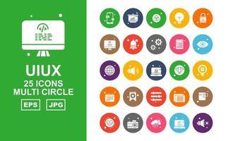 Paquete de 25 iconos premium de múltiples círculos uiux vector
