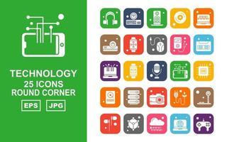 25 Premium Technology Round Corner Icon Pack vector