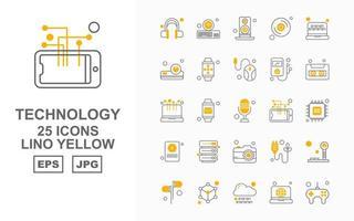 25 Premium Technology Lino Yellow Icon Pack vector
