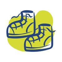 icono de estilo de línea de zapatos de tenis vector