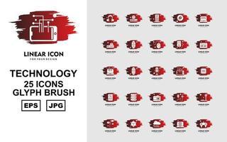 25 Premium Technology Glyph Brush Icon Pack vector