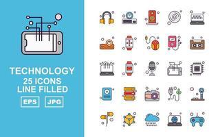 25 paquetes de iconos llenos de líneas de tecnología premium vector
