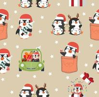 cute penguins cartoon christmas seamless pattern vector