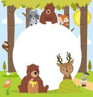 Lindos animales del bosque del bosque con espacio de copia vector