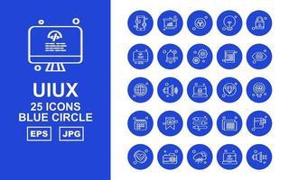 Paquete de 25 iconos premium de círculo azul uiux vector