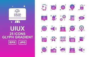 25 Premium UIUX Glyph Gradient Icon Pack vector