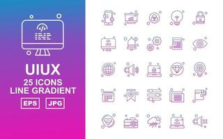 25 Premium UIUX Line Gradient Icon Pack vector