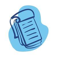 estilo de línea de útiles escolares de cuaderno vector