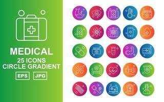 25 Premium Medical Circle Gradient Icon Pack vector