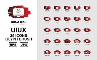 25 Premium UIUX Glyph Brush Icon Pack