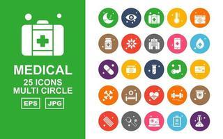 25 Premium Medical Multi Circle Icon Pack vector