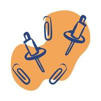 paper pins and clips line style icon