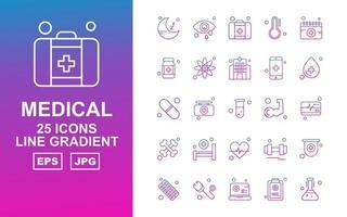 25 Premium Medical Line Gradient Icon Pack vector