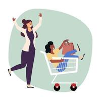 woman pushing cart with other woman in it vector