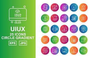 25 Premium UIUX Circle Gradient Icon Pack vector