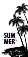 cartel de la bandera de la palmera del horario de verano