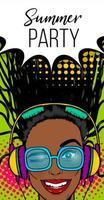 Summer music banner woman disco pop at vector