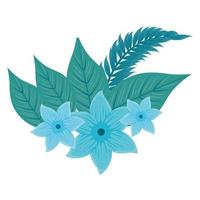flowers blue color, with branch and tropical leaves on white background vector